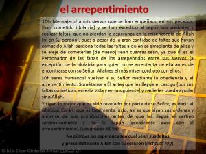 Breve interpretación tafsir del Corán el arrepentimiento